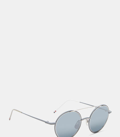 Round Aviator Front Frame Mirrored Sunglasses by Thom Browne