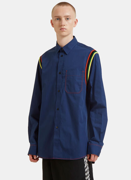 Buy Stripe Ribbed Trim Poplin Shirt by J.W. Anderson men clothes online