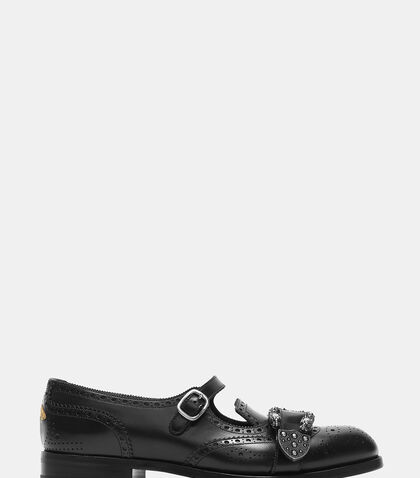 Queercore Leather Brogue Monk Shoes by Gucci