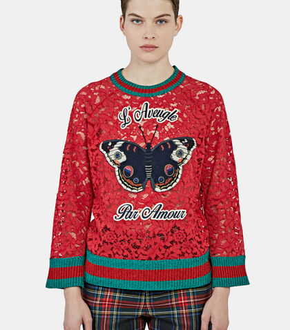 Butterfly Patch Floral Lace Sweater by Gucci