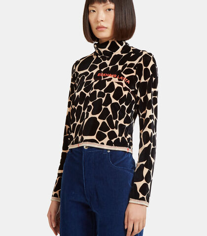 Lapped Giraffe Print Top by Eckhaus Latta