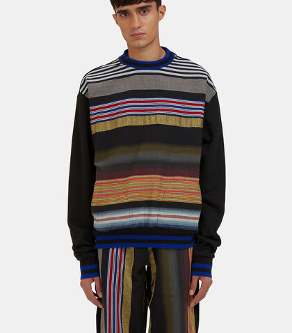Multicolour Striped Crew Neck Sweater by James Long