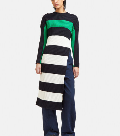 Ribbed Knit Striped Sweater Dress by Stella McCartney