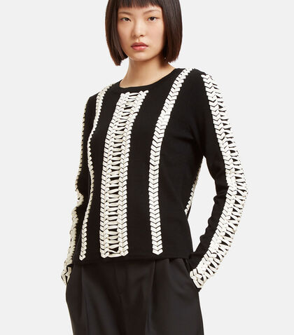 Deals Leather Whipstitched Sweater by Altuzarra