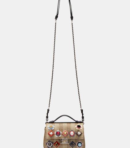Micro Baguette Studded Double-Sided Straw Bag by Fendi