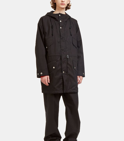 Hooded Press Stud Poplin Parka Jacket by Stella McCartney