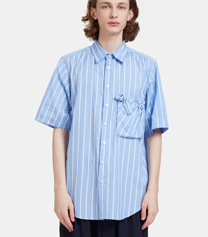 Arthur Raw Striped Ruched Patch Pocket Shirt by Mohsin