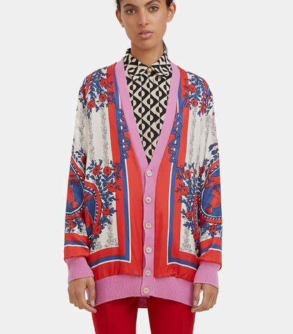 Oversized Reversible Scarf Print Cardigan by Gucci