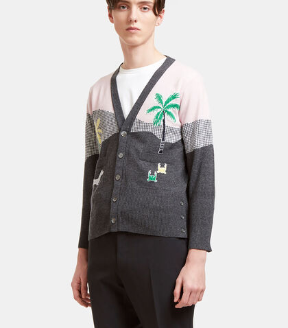 Beach Story Intarsia Knit Cashmere Cardigan by Thom Browne