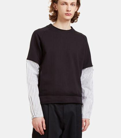 Striped Poplin Sleeve Jersey Sweater by Aganovich