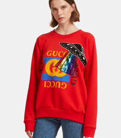 Gucci Print Embroidered Spaceship Sweater by Gucci