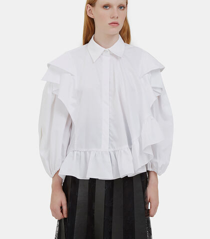 Caron Asymmetric Ruffled Shirt by Preen