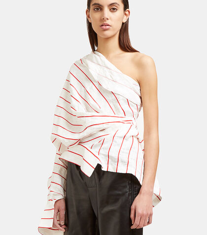 Creased Stripe Twist Shirt by A.W.A.K.E