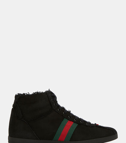 Shearling High-Top Suede Sneakers by Gucci