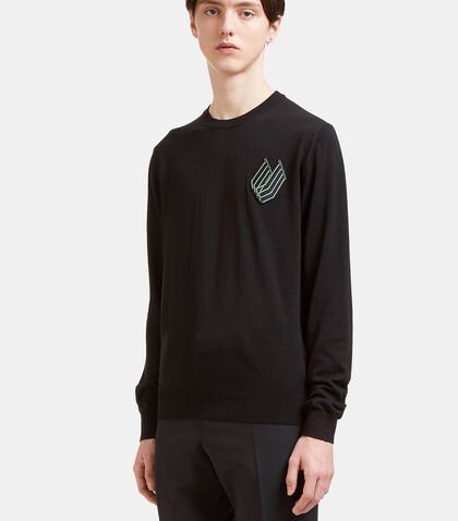 Embroidered Patch Crew Neck Sweater by Lanvin