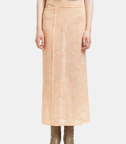 Lapped Floral Embroidered Sheer Skirt by Eckhaus Latta