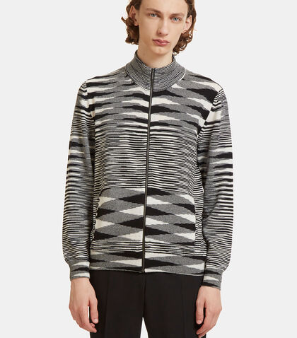 Striped Knit Zip-Up Sweater by Missoni