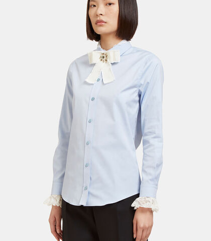 Lace Collared Washed Oxford Shirt by Gucci