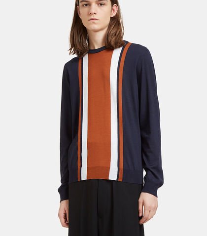 Striped Panel Round Neck Sweater by Valentino