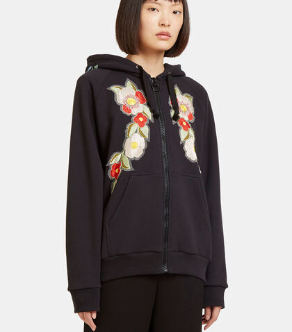 Floral Embroidered Gucci Print Hooded Sweatshirt by Gucci