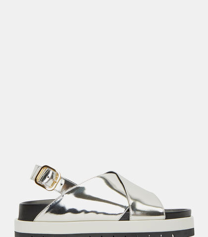 Metallic Cross-Over Strap Sandals by Marni