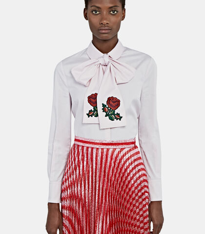 Rose Embroidered Pussybow Shirt by Gucci