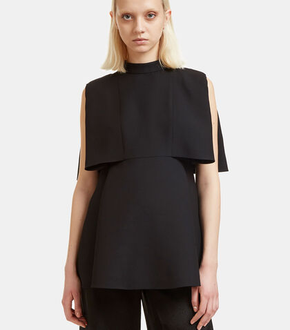 Sleeveless Wool Cape Top by Valentino