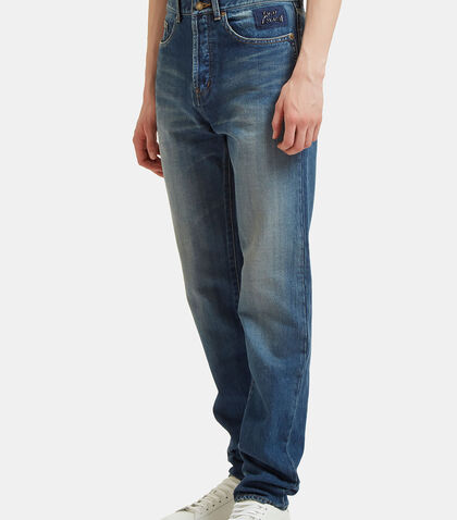 Straight Leg Washed Jeans by Saint Laurent