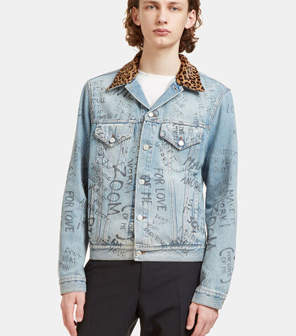 Scribbled Writing Print Leopard Collared Denim Jacket by Gucci