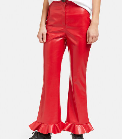 Jellyfish Frill Flared Faux Leather Pants by A.W.A.K.E