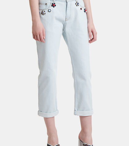 Flower Appliqué Cropped Jeans by Fendi