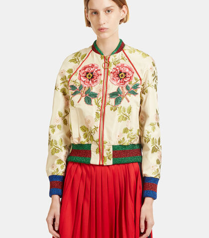 Floral Embroidered Bomber Jacket by Gucci