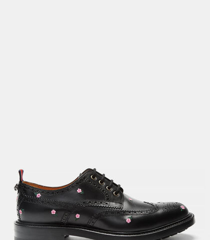 Floral Embroidered Leather Brogues by Gucci