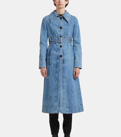 Long Belted Denim Trench Coat by Marni