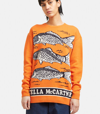 Oversized Fish Intarsia Knit Sweater by Stella McCartney