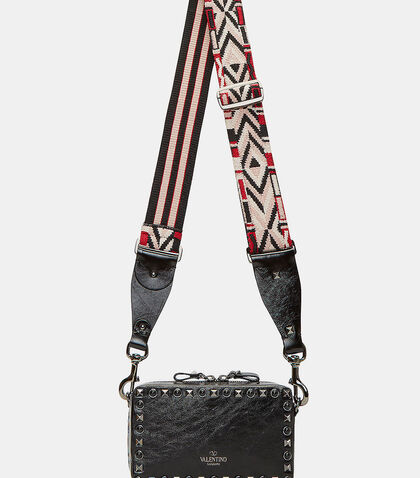 Guitar Rockstud Rolling Rectangular Crossbody Bag by Valentino