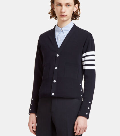 Ribbed Stripe V-Neck Cardigan by Thom Browne