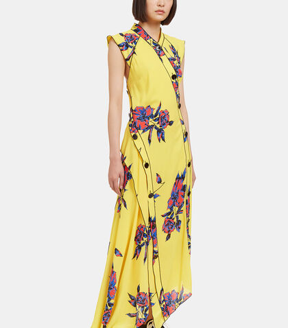 Long Lily Print Asymmetric Frilled Dress by Proenza Schouler