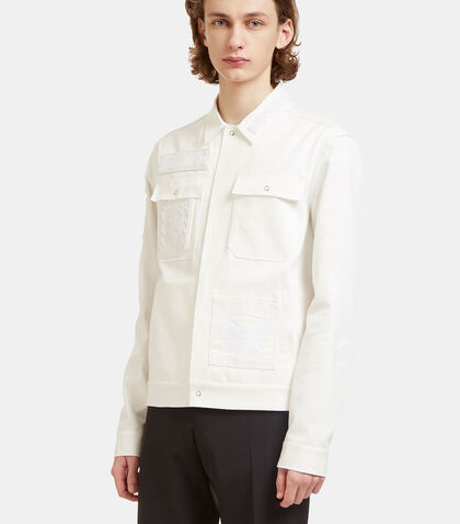 Embroidered Patch Cuba Twill Shirt Jacket by Valentino