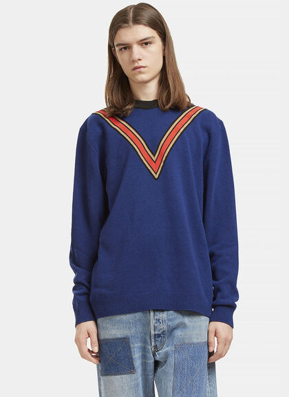 Buy Striped V Crew Neck Cashmere Sweater by Stella McCartney men clothes online