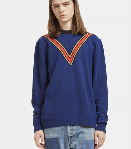 Striped V Crew Neck Cashmere Sweater by Stella McCartney