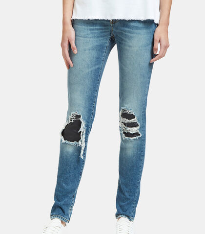 Destroyed Leather Patch Skinny Jeans by Saint Laurent