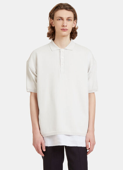 Buy Oversized Layered Knit Polo Shirt by Raf Simons men clothes online
