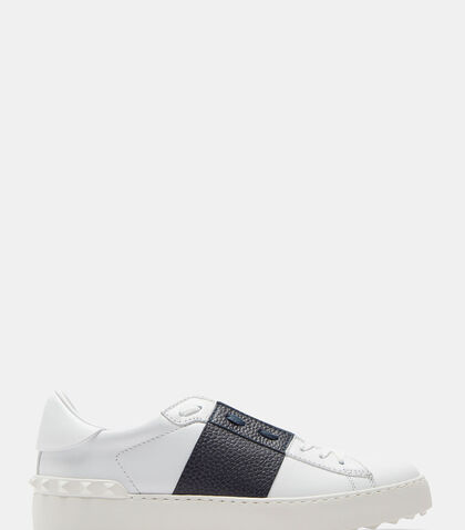 lncc female contrast grained panel stud sneakers