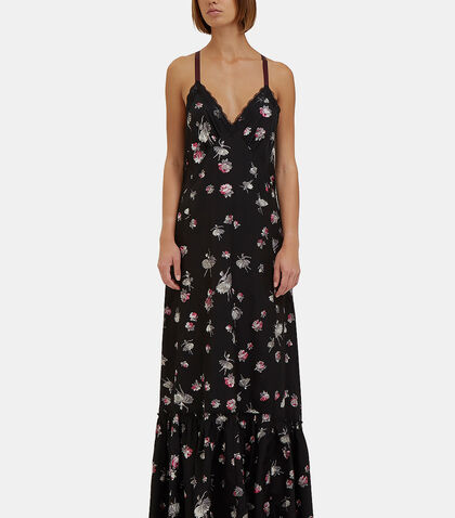 Long Floral Dropped Ruffle Slip Dress by Marc Jacobs