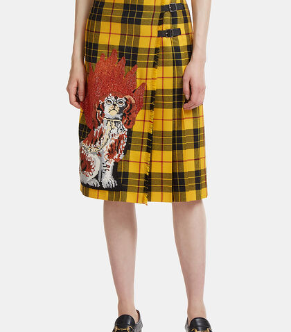 Embroidered Tartan Wool Skirt by Gucci