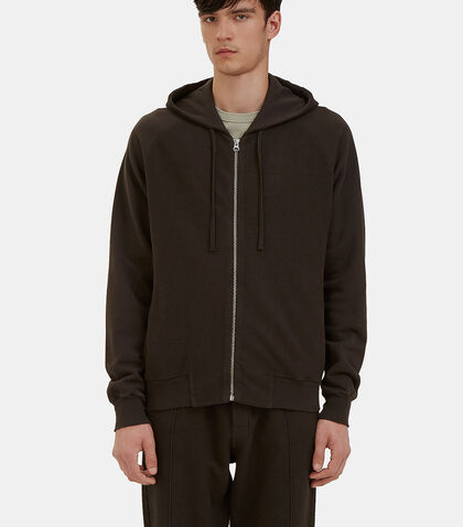 Reverse-Side Loopback Fleeced Zip-Up Hooded Sweater by Les Basics