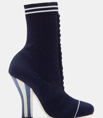 Candy Striped Heel Sock Sneaker Boots by Fendi