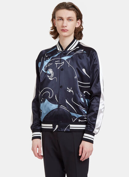 Buy Panther Print Satin Bomber Jacket by Valentino men clothes online