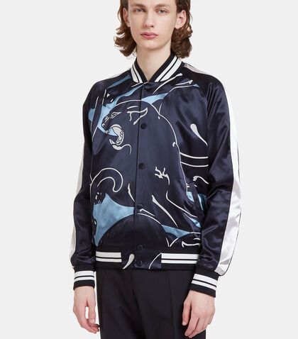 Panther Print Satin Bomber Jacket by Valentino